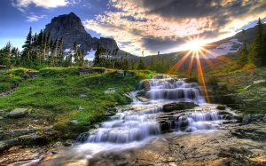 Waterfall-Mountain-Sunset
